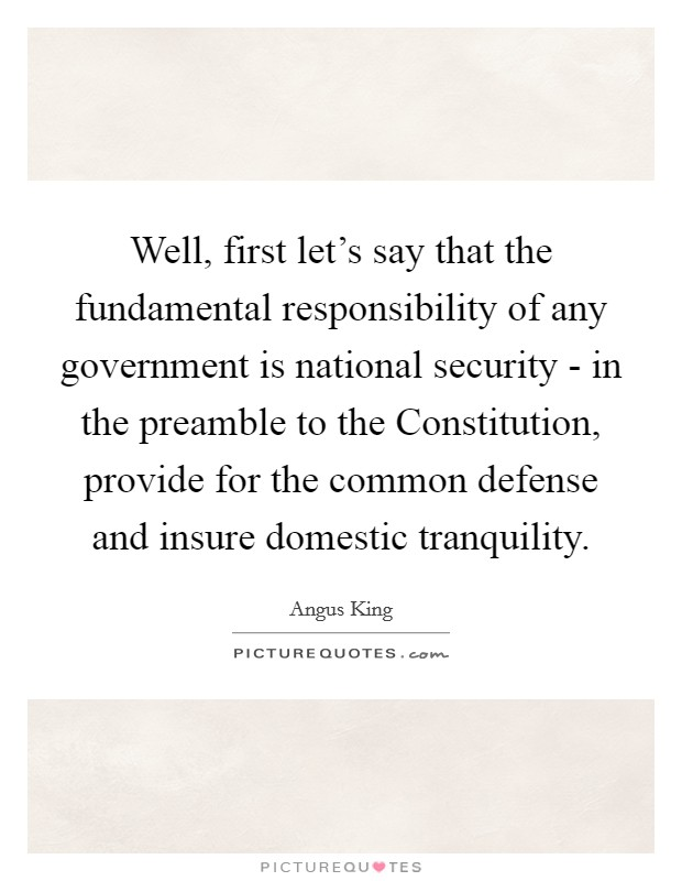 Well, first let's say that the fundamental responsibility of any government is national security - in the preamble to the Constitution, provide for the common defense and insure domestic tranquility Picture Quote #1