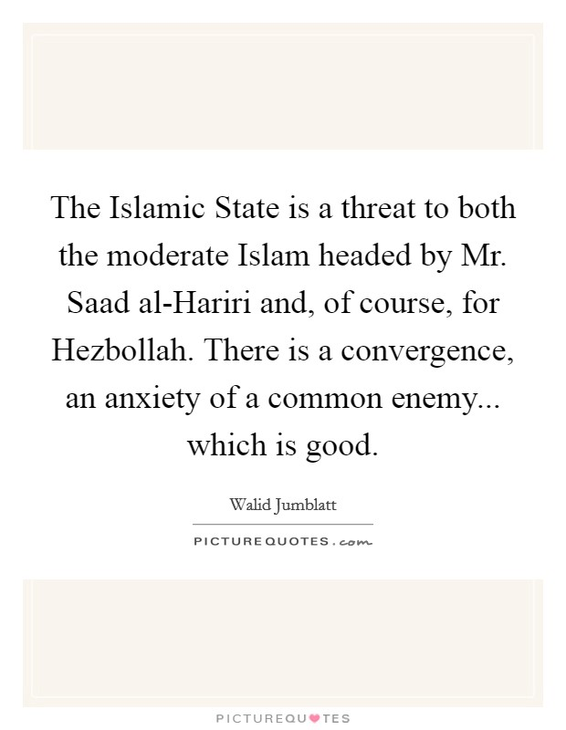 The Islamic State is a threat to both the moderate Islam headed by Mr. Saad al-Hariri and, of course, for Hezbollah. There is a convergence, an anxiety of a common enemy... which is good Picture Quote #1