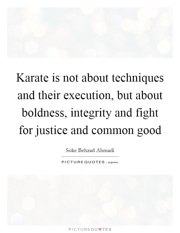Karate is not about techniques and their execution, but about boldness, integrity and fight for justice and common good Picture Quote #1