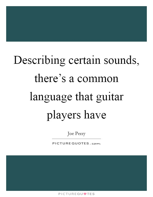 Describing certain sounds, there's a common language that guitar players have Picture Quote #1