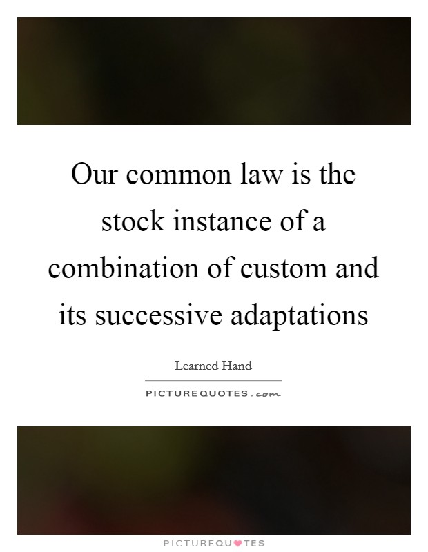 Our common law is the stock instance of a combination of custom and its successive adaptations Picture Quote #1