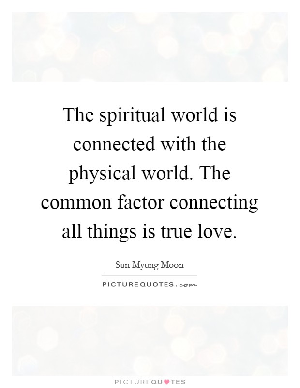 The spiritual world is connected with the physical world. The common factor connecting all things is true love Picture Quote #1