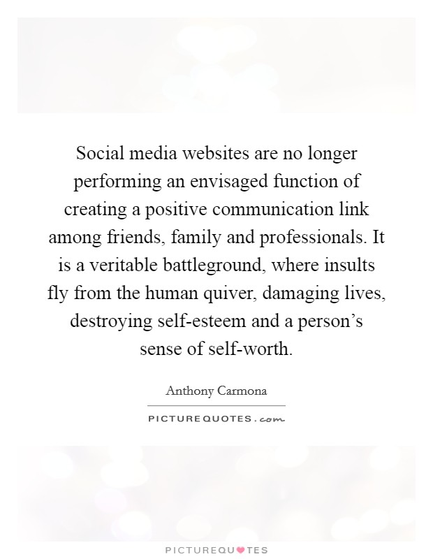 Social media websites are no longer performing an envisaged function of creating a positive communication link among friends, family and professionals. It is a veritable battleground, where insults fly from the human quiver, damaging lives, destroying self-esteem and a person's sense of self-worth Picture Quote #1