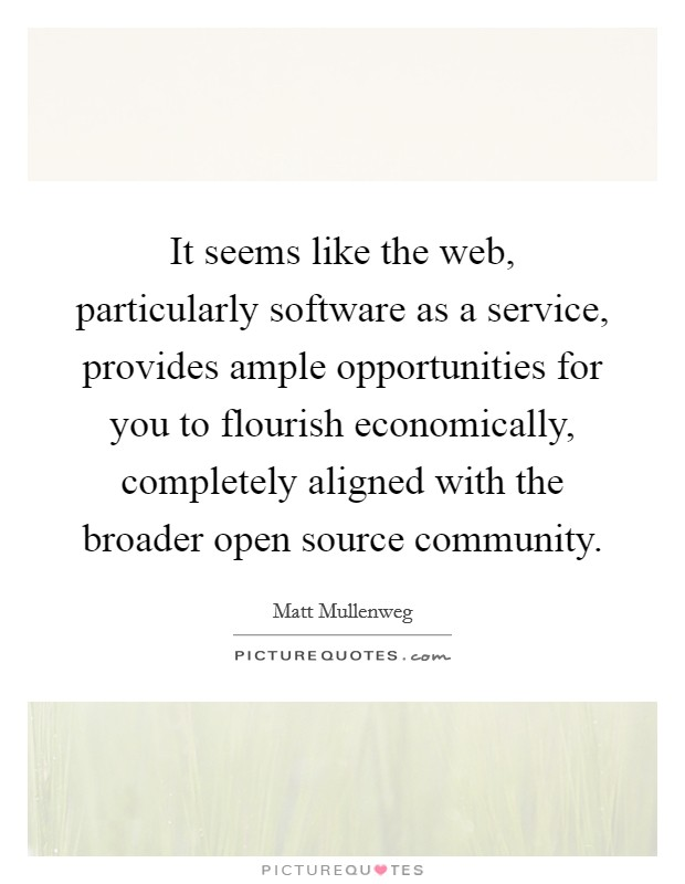 It seems like the web, particularly software as a service, provides ample opportunities for you to flourish economically, completely aligned with the broader open source community Picture Quote #1