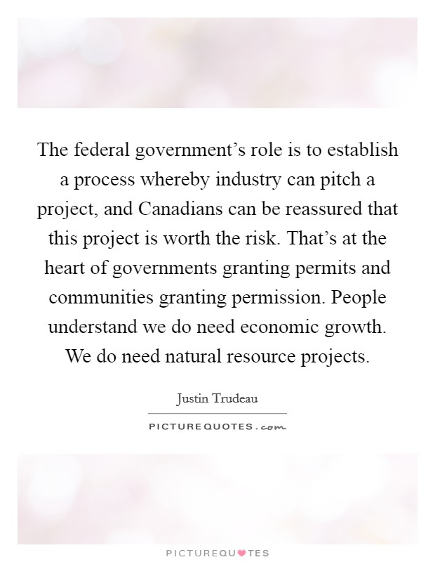 The federal government's role is to establish a process whereby industry can pitch a project, and Canadians can be reassured that this project is worth the risk. That's at the heart of governments granting permits and communities granting permission. People understand we do need economic growth. We do need natural resource projects Picture Quote #1