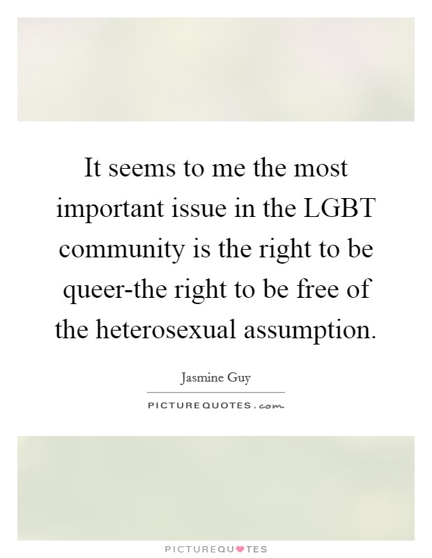 It seems to me the most important issue in the LGBT community is the right to be queer-the right to be free of the heterosexual assumption Picture Quote #1
