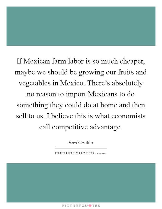 If Mexican farm labor is so much cheaper, maybe we should be growing our fruits and vegetables in Mexico. There's absolutely no reason to import Mexicans to do something they could do at home and then sell to us. I believe this is what economists call competitive advantage Picture Quote #1