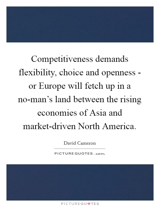 Competitiveness demands flexibility, choice and openness - or Europe will fetch up in a no-man's land between the rising economies of Asia and market-driven North America Picture Quote #1