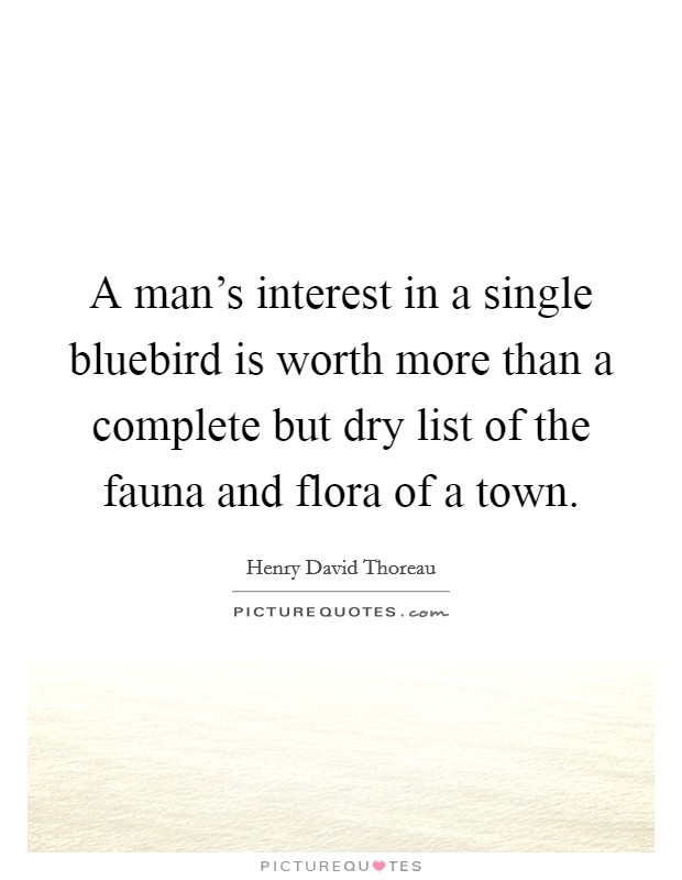 A man's interest in a single bluebird is worth more than a complete but dry list of the fauna and flora of a town Picture Quote #1
