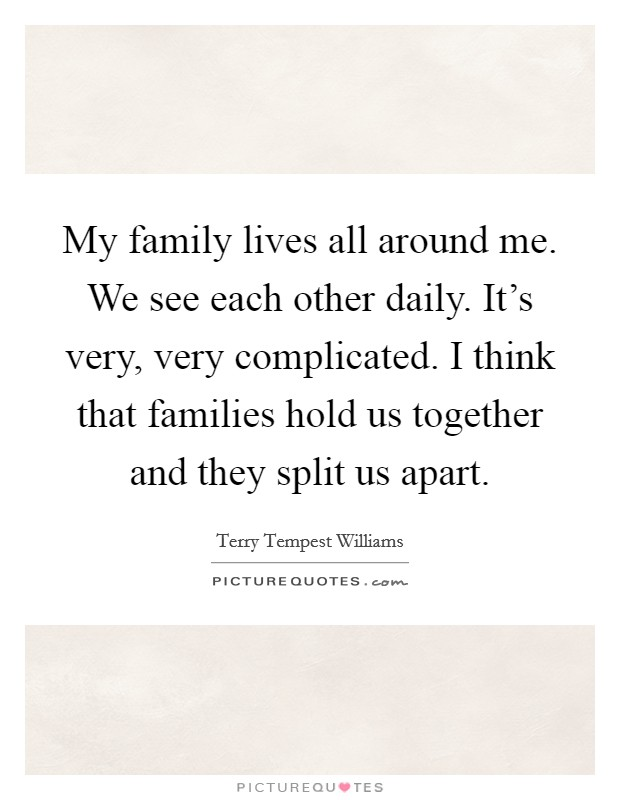 My family lives all around me. We see each other daily. It's very, very complicated. I think that families hold us together and they split us apart Picture Quote #1