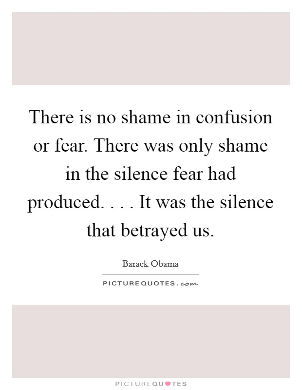 There is no shame in confusion or fear. There was only shame in the silence fear had produced. . . . It was the silence that betrayed us Picture Quote #1