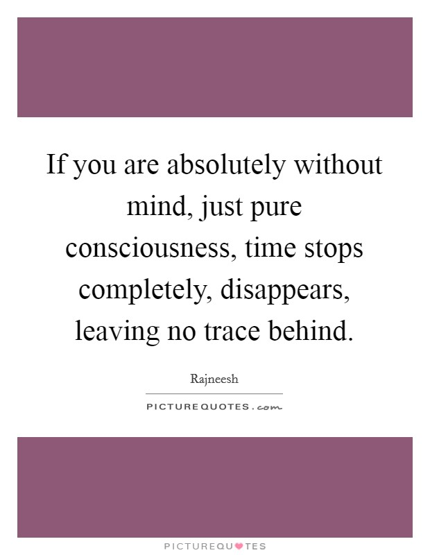 If you are absolutely without mind, just pure consciousness, time stops completely, disappears, leaving no trace behind Picture Quote #1
