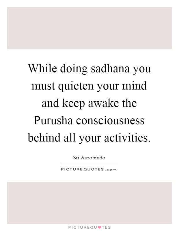 While doing sadhana you must quieten your mind and keep awake the Purusha consciousness behind all your activities Picture Quote #1