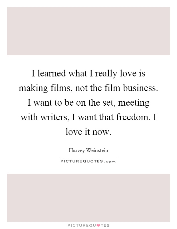 I learned what I really love is making films, not the film business. I want to be on the set, meeting with writers, I want that freedom. I love it now Picture Quote #1