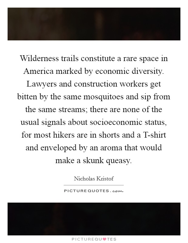 Wilderness trails constitute a rare space in America marked by economic diversity. Lawyers and construction workers get bitten by the same mosquitoes and sip from the same streams; there are none of the usual signals about socioeconomic status, for most hikers are in shorts and a T-shirt and enveloped by an aroma that would make a skunk queasy Picture Quote #1
