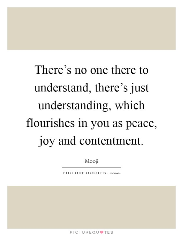 There's no one there to understand, there's just understanding, which flourishes in you as peace, joy and contentment Picture Quote #1