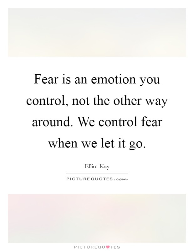 Fear is an emotion you control, not the other way around. We control fear when we let it go Picture Quote #1
