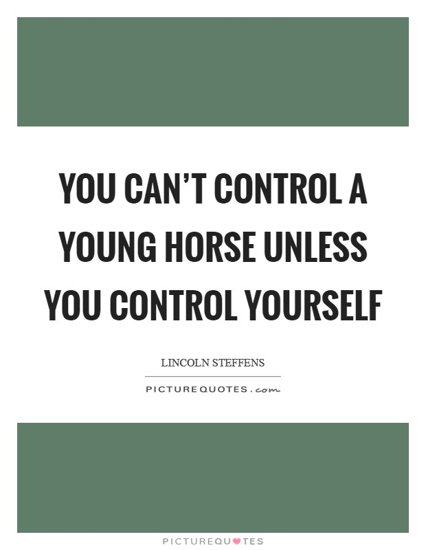 You can't control a young horse unless you control yourself Picture Quote #1