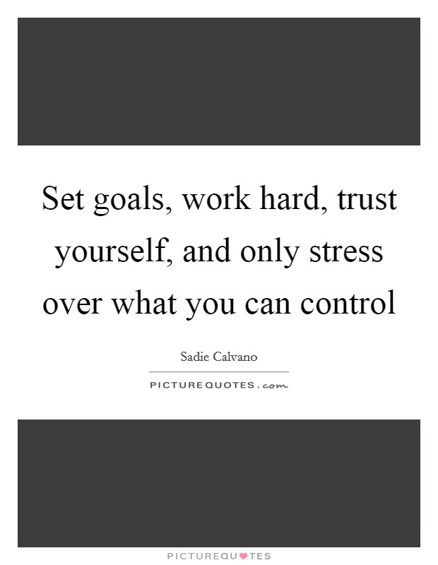 Set goals, work hard, trust yourself, and only stress over what you can control Picture Quote #1