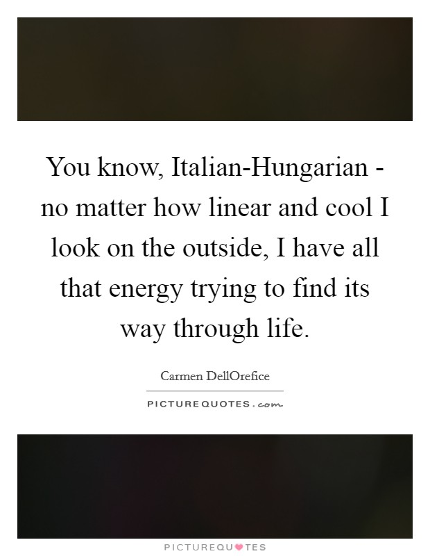 You know, Italian-Hungarian - no matter how linear and cool I look on the outside, I have all that energy trying to find its way through life Picture Quote #1