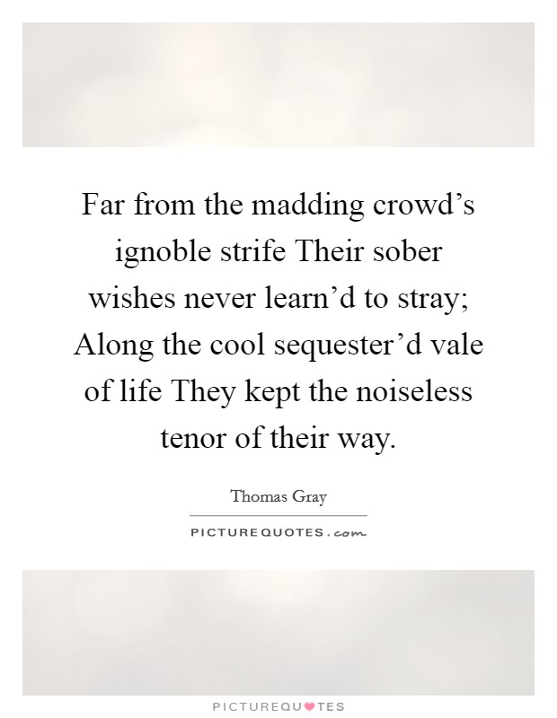 Far from the madding crowd's ignoble strife Their sober wishes never learn'd to stray; Along the cool sequester'd vale of life They kept the noiseless tenor of their way Picture Quote #1