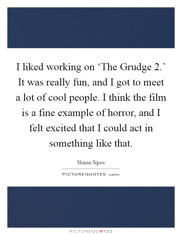 I liked working on 'The Grudge 2.' It was really fun, and I got to meet a lot of cool people. I think the film is a fine example of horror, and I felt excited that I could act in something like that Picture Quote #1