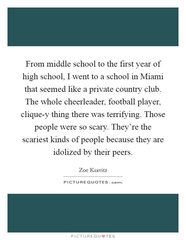 From middle school to the first year of high school, I went to a school in Miami that seemed like a private country club. The whole cheerleader, football player, clique-y thing there was terrifying. Those people were so scary. They're the scariest kinds of people because they are idolized by their peers Picture Quote #1