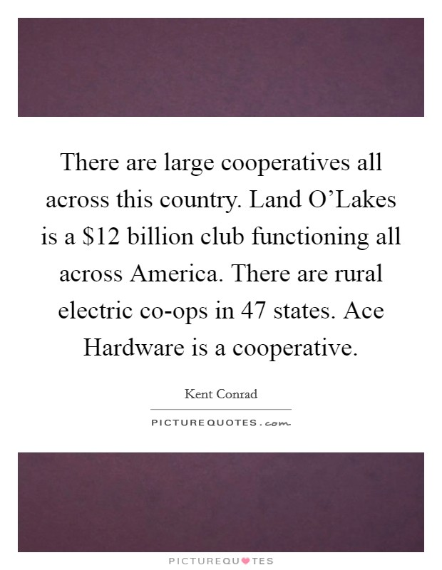 There are large cooperatives all across this country. Land O'Lakes is a $12 billion club functioning all across America. There are rural electric co-ops in 47 states. Ace Hardware is a cooperative Picture Quote #1