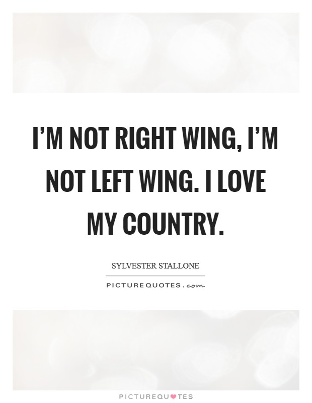 I'm not right wing, I'm not left wing. I love my country. Picture Quote #1