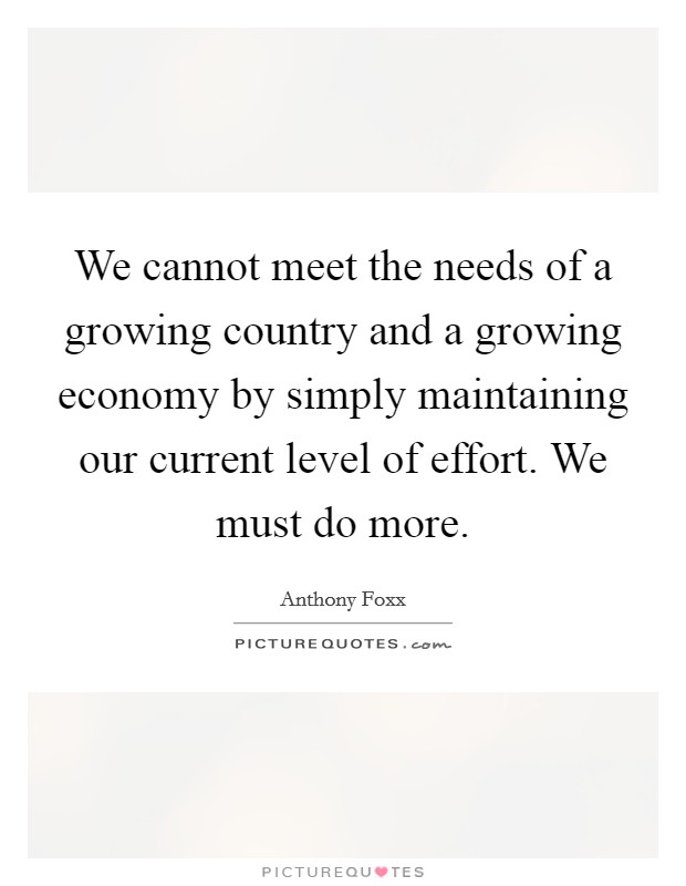 We cannot meet the needs of a growing country and a growing economy by simply maintaining our current level of effort. We must do more Picture Quote #1