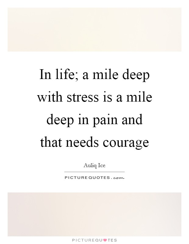 In life; a mile deep with stress is a mile deep in pain and that needs courage Picture Quote #1
