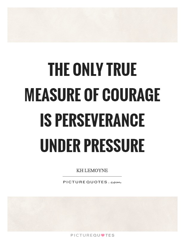 The only true measure of courage is perseverance under pressure Picture Quote #1