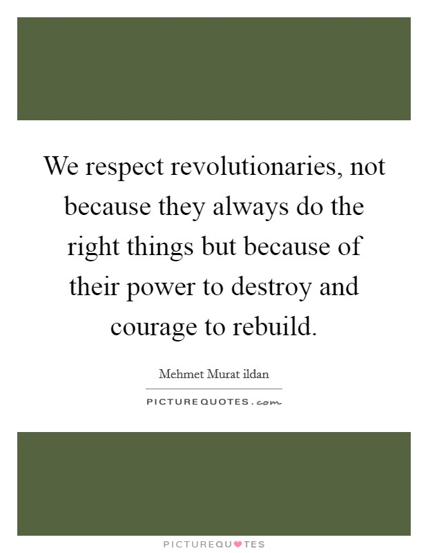 We respect revolutionaries, not because they always do the right things but because of their power to destroy and courage to rebuild Picture Quote #1
