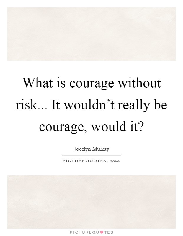 What is courage without risk... It wouldn't really be courage, would it? Picture Quote #1