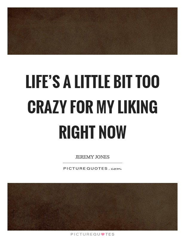Life's a little bit too crazy for my liking right now Picture Quote #1