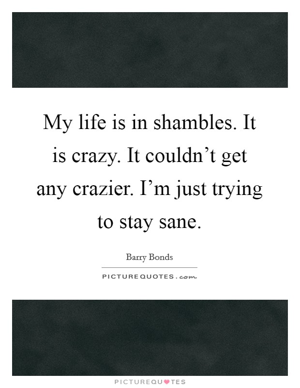 My life is in shambles. It is crazy. It couldn't get any crazier. I'm just trying to stay sane Picture Quote #1