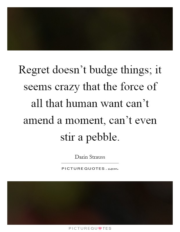 Regret doesn't budge things; it seems crazy that the force of all that human want can't amend a moment, can't even stir a pebble. Picture Quote #1