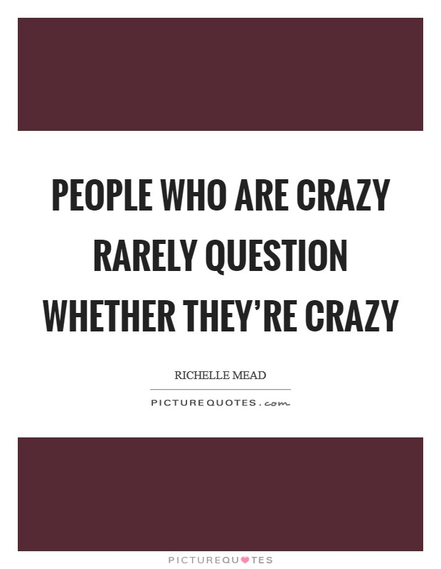 People who are crazy rarely question whether they're crazy Picture Quote #1
