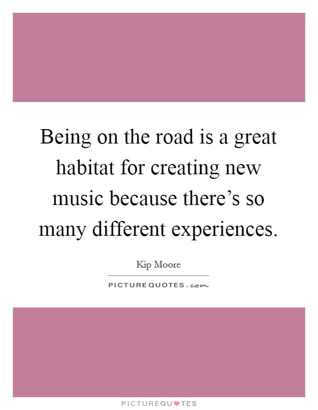 Being on the road is a great habitat for creating new music because there's so many different experiences Picture Quote #1