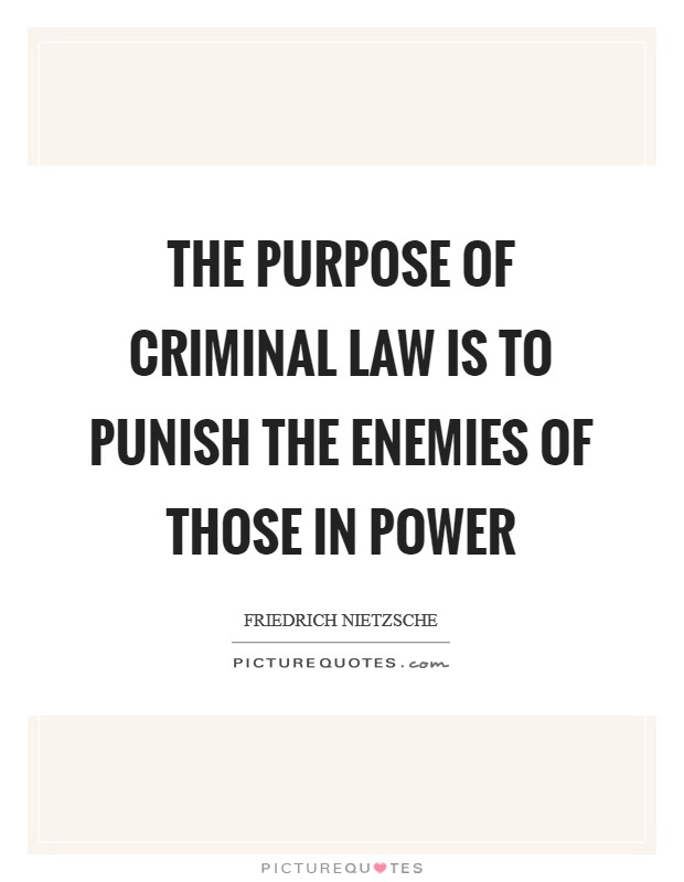 The purpose of criminal law is to punish the enemies of those in power Picture Quote #1
