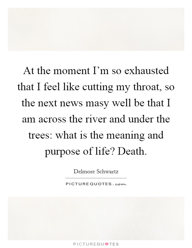 At the moment I'm so exhausted that I feel like cutting my throat, so the next news masy well be that I am across the river and under the trees: what is the meaning and purpose of life? Death Picture Quote #1