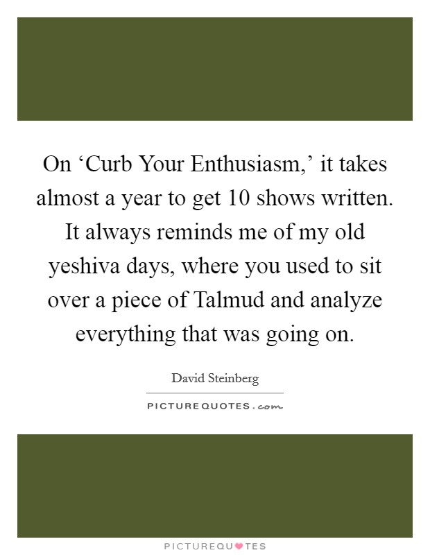 On 'Curb Your Enthusiasm,' it takes almost a year to get 10 shows written. It always reminds me of my old yeshiva days, where you used to sit over a piece of Talmud and analyze everything that was going on Picture Quote #1