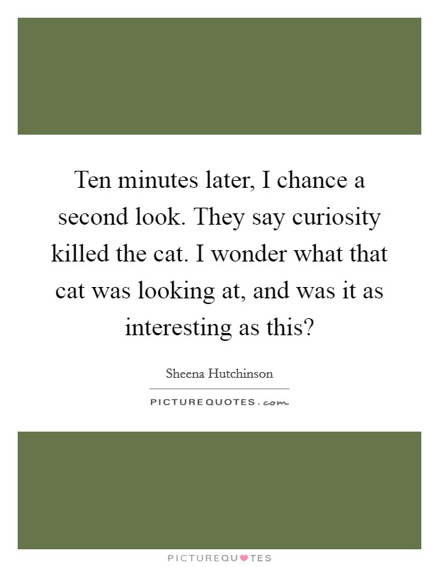 Ten minutes later, I chance a second look. They say curiosity killed the cat. I wonder what that cat was looking at, and was it as interesting as this? Picture Quote #1