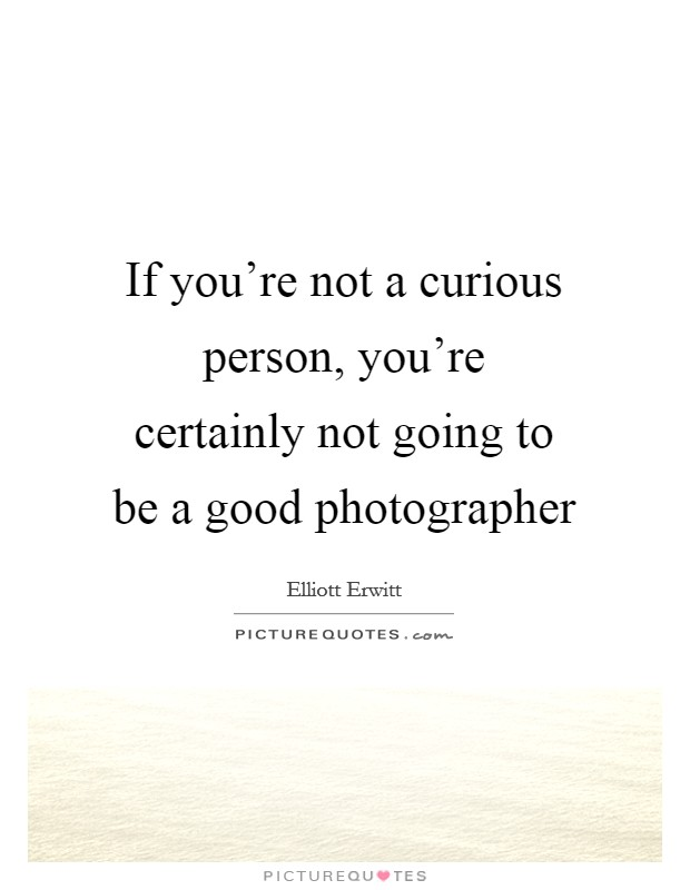 If you're not a curious person, you're certainly not going to be a good photographer Picture Quote #1