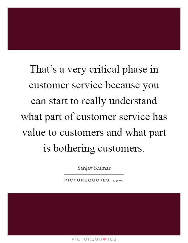 That's a very critical phase in customer service because you can start to really understand what part of customer service has value to customers and what part is bothering customers Picture Quote #1
