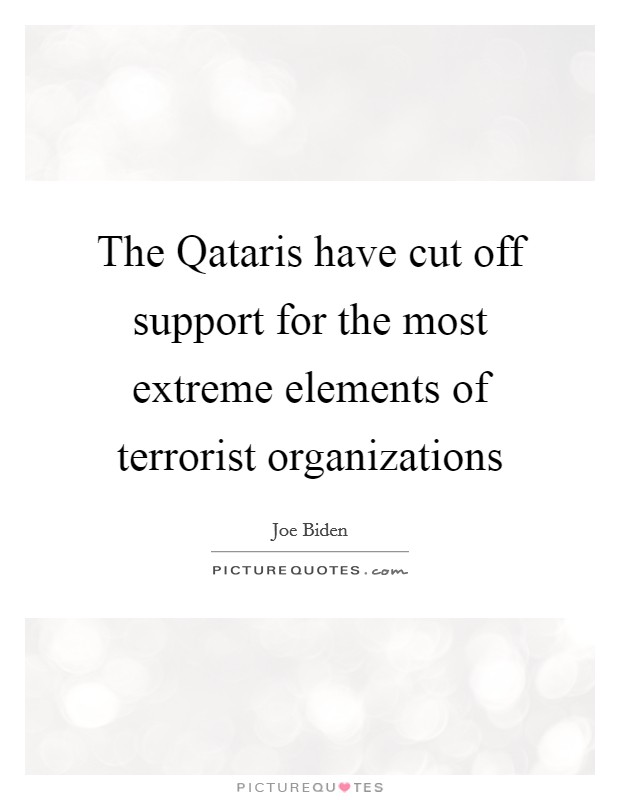 The Qataris have cut off support for the most extreme elements of terrorist organizations Picture Quote #1