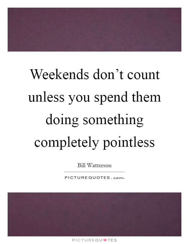 Weekends don't count unless you spend them doing something completely pointless Picture Quote #1