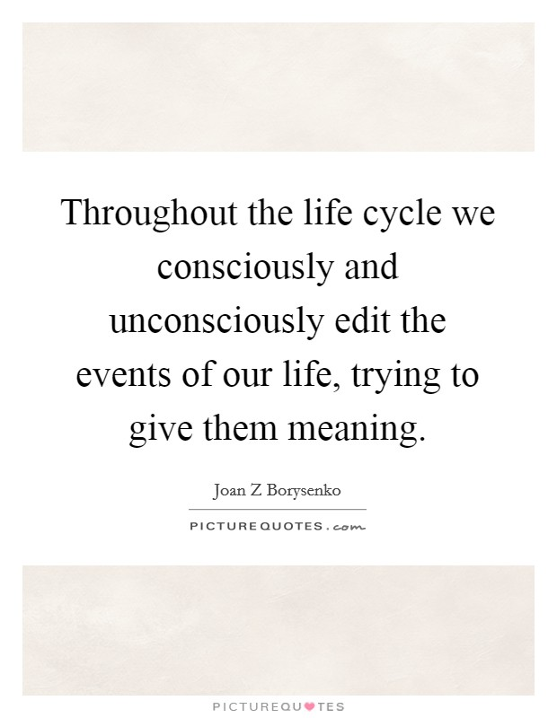 Throughout the life cycle we consciously and unconsciously edit the events of our life, trying to give them meaning. Picture Quote #1