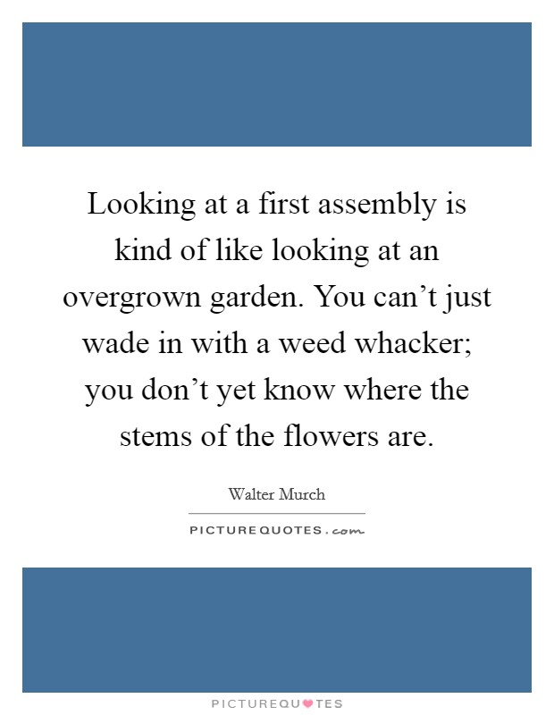 Looking at a first assembly is kind of like looking at an overgrown garden. You can't just wade in with a weed whacker; you don't yet know where the stems of the flowers are Picture Quote #1