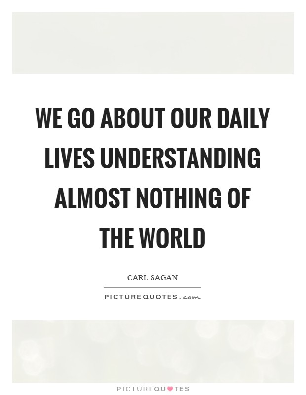 We go about our daily lives understanding almost nothing of the world Picture Quote #1
